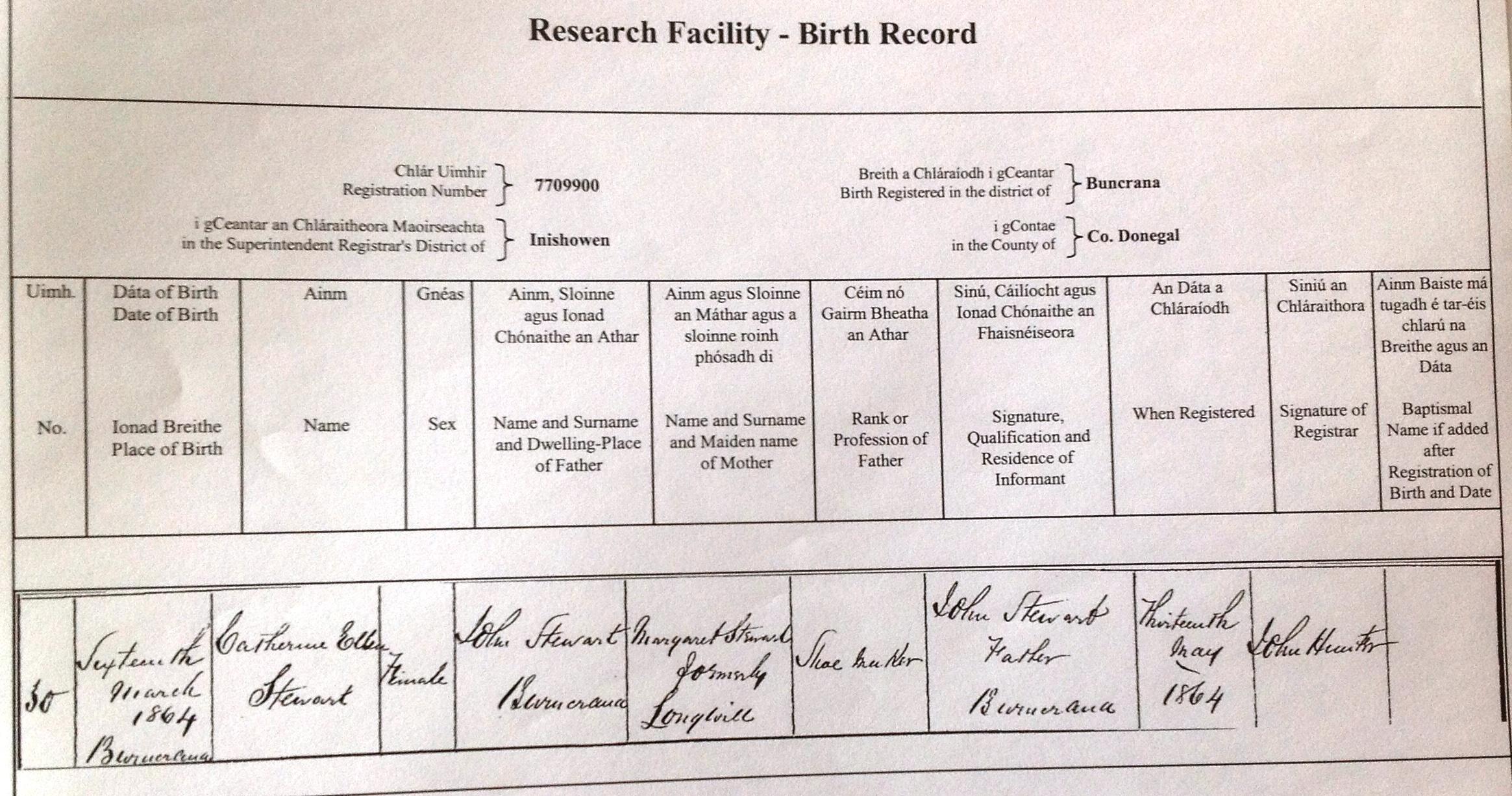 Stewart clan buncrana ireland south africa catherine ellen birth certificate aiddatafo Image collections